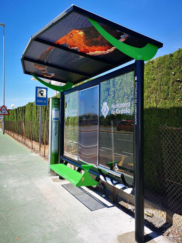 marquesina parada de autobús mobiliario urbano para ciudad y ayuntamiento