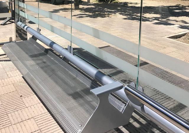 marquesina silver hecha en acero es una parada de autobús mobiliario urbano para ciudad